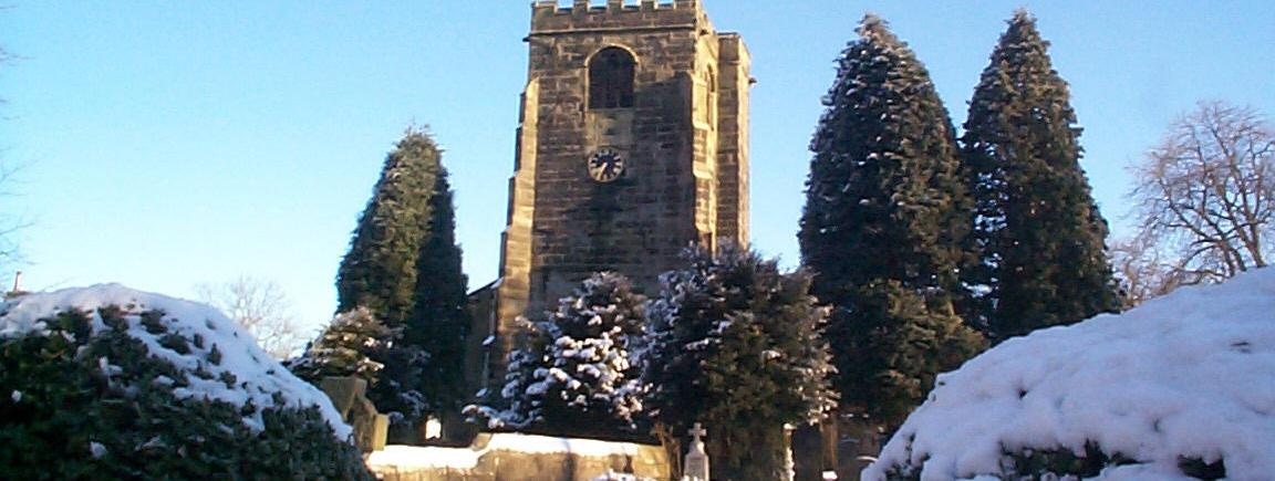 Broughton Parish Church in the winter