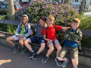 Boys sat on a bench in Llandudno