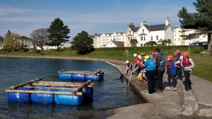 Boys preparing to raft in the Isle of Man