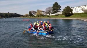 Boys rafting in the Isle of Man